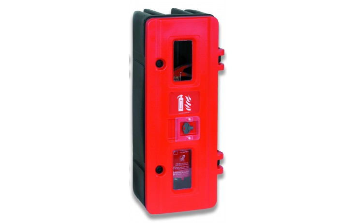 Single extinguisher cabinet with key lock
