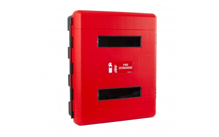 Firechief Double Fire Extinguisher Cabinet c/w hand-operated latch