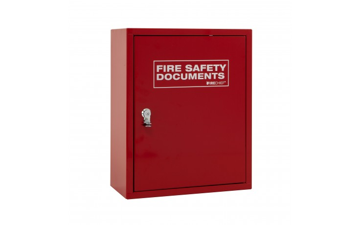 Red document cabinet with seal latch