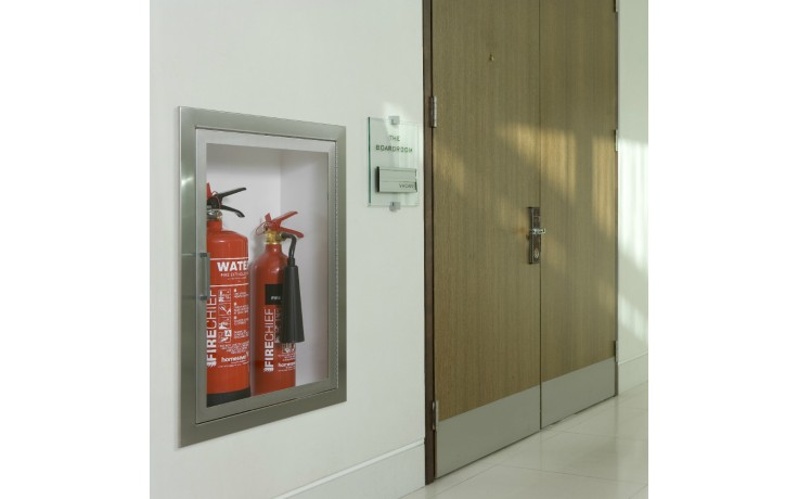 Firechief Arc Double Cabinet - Stainless Steel Fully-Recessed Extinguisher Cabinet