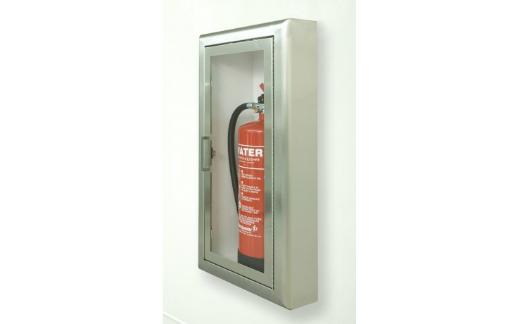Firechief Arc Double Cabinet - Stainless Steel Semi-Recessed Extinguisher Cabinet