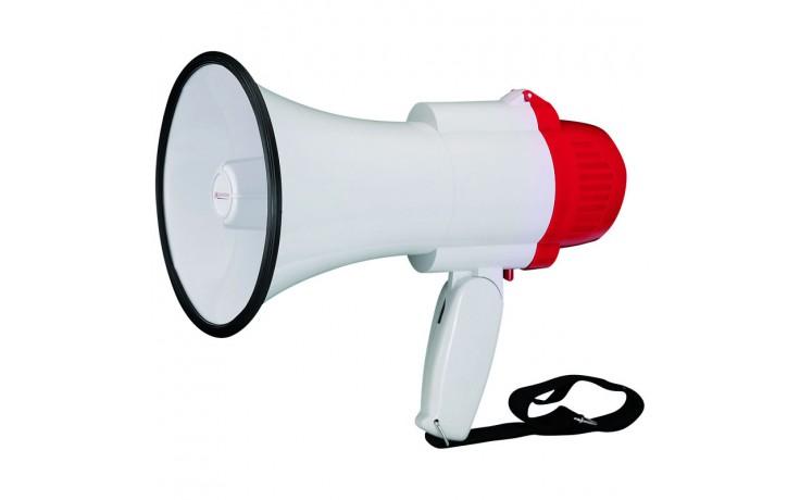 Mini megaphone with folding hand grip