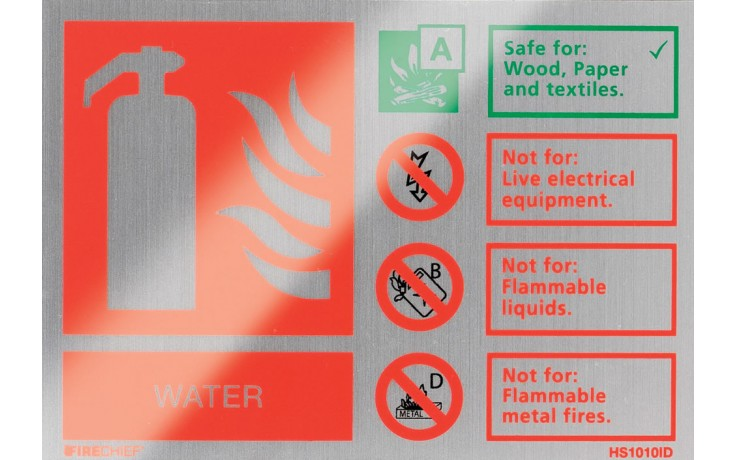 Brushed aluminium water extinguisher identification sign
