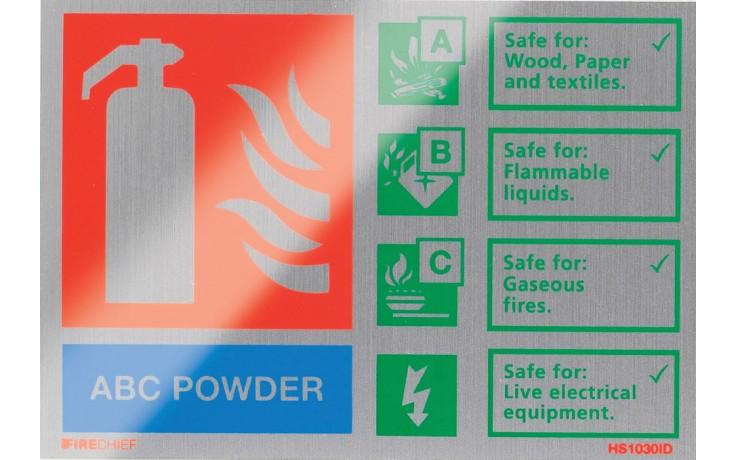 Brushed aluminium ABC Powder extinguisher identification sign