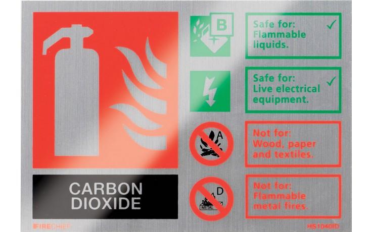 Brushed aluminium CO2 extinguisher identification sign