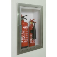 Firechief Arc Double Cabinet - Aluminium Fully-Recessed Extinguisher Cabinet
