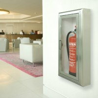 Firechief Arc Single Cabinet - White Steel Semi-recessed Extinguisher Cabinet
