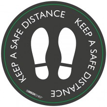 Medichief Floor Vinyls - Keep Safe Distance - Black - 30cm