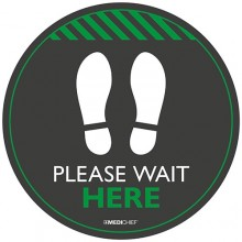 Medichief Floor Vinyl - Please Wait Here - Black - 30cm
