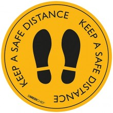 Medichief Floor Vinyl - Keep Safe Distance - Yellow - 30cm