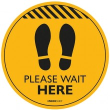 Medichief Floor Vinyl - Please Wait Here - Yellow - 30cm