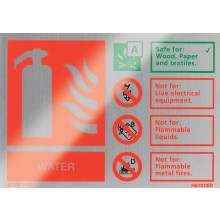 Brushed aluminium water extinguisher identification sign