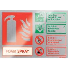 Brushed aluminium Spray Foam extinguisher identification sign