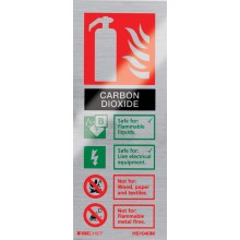 Brushed aluminium CO2 extinguisher identification sign