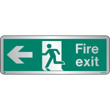 Brushed Stainless steel Fire exit sign left with radius corner