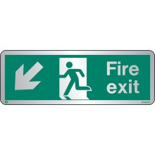 Brushed Stainless steel Fire exit sign down to the left with radius corner
