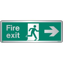 Brushed Stainless steel Fire exit sign right with radius corner