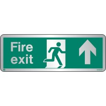 Brushed Stainless steel Fire exit sign up/forwards with radius corner