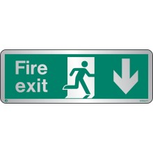 Brushed Stainless steel Fire exit sign down with radius corner