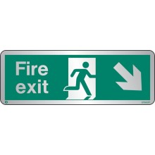 Brushed Stainless steel Fire exit sign down to the right with radius corner