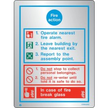 Brushed Stainless steel General fire action notice with radius corner