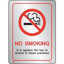 Brushed Stainless steel Prohibition no smoking against the law sign with radius corner