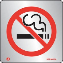 Brushed Stainless steel Prohibition no smoking sign with radius corner