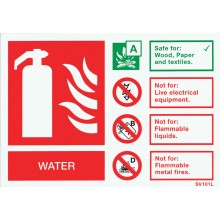 Self-adhesive landscape water extinguisher identification sign