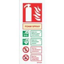 Self-adhesive portrait spray foam extinguisher identification sign