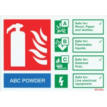 Self-adhesive landscape ABC Powder extinguisher identification sign