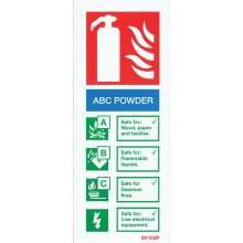 Self-adhesive portrait ABC Powder extinguisher identification sign