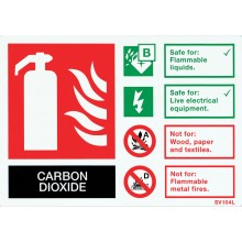 Self-adhesive landscape CO2 extinguisher identification sign