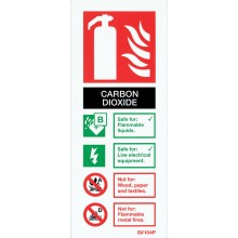 Self-adhesive portrait CO2 extinguisher identification sign