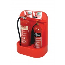 Double extinguisher stand with recessed base