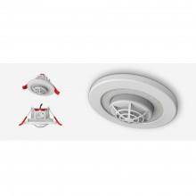 Lumi-Plugin White LP120 downlight with mains powered heat alarm- 2700k