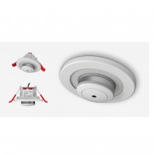 Lumi-Plugin White LP120 downlight with mains powered smoke alarm with emergency pack- 2700k