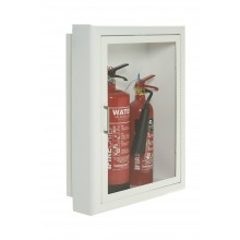 Firechief Arc Double Cabinet - White Steel Semi-Recessed Extinguisher Cabinet