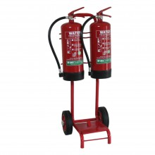 Double extinguisher trolley with bucket bracket